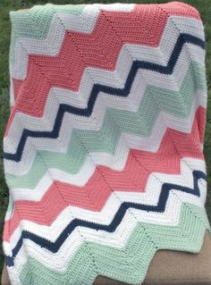 Crocheted Chevron Throw Blanket Lap Blanket by CrochetedByKristina