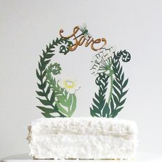 Ferns and Flowers Cake Topper by ByMadelineTrait on Etsy, $55.00