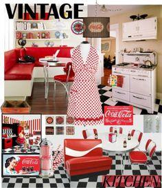 """Vintage-Inspired Coca~Cola Kitchen"" by jvol1052 on Polyvore"