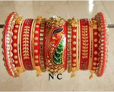 Handpaint and kundan work Silk Bangles, Bridal Bangles, Bridal Jewellery, Gold Bangles Design, Jewelry Design, Chuda Bangles, Bridal Chuda, Rajputi Jewellery, Wedding Bride