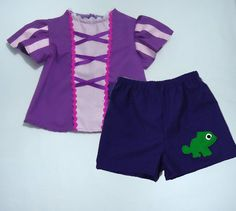 Idea for sewing (summer outfits) Princess Rapunzel - Tangle - Set - Top and Bottom - Every Day use size 6M - 7 years