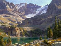 Clyde Aspevig, Lake O'Hara, oil, 30 x from Artistic Horizons. Watercolor Landscape, Landscape Art, Landscape Paintings, Beautiful Paintings Of Nature, Beautiful Landscapes, Mountain Art, Mountain Landscape, Clyde Aspevig, Mountain Paintings