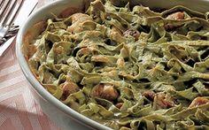 Grøn pasta med kalkun og svampe En lækker pasta med kalkun i fad, der let kan serveres til mange