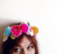 Crochet flower pom pom crown by WaffleandNeep on Etsy