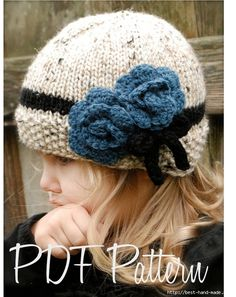 Knitting PATTERN-The Chaylie Cloche' (Toddler, Child, Adult sizes) also can be… Knitted Hats Kids, Baby Hats Knitting, Crochet Baby Hats, Knitting For Kids, Kids Hats, Loom Knitting, Crochet Cross, Knit Crochet, Bandeau Crochet