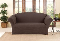 Photo of Two Tone Stretch Honeycomb Two Piece Slipcover