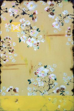 Kathe Fraga Art, www.kathefraga.com Kathe's paintings are inspired by the romance of vintage French wallpapers and Chinoiserie with a modern twist. 36x24 on frescoed canvas with Japanese gold ink.