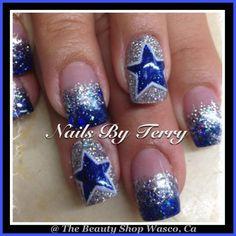 cowboys nails | Via Terry Nguyen Dallas Cowboys Nail Designs, Football Nail Designs, Dallas Cowboys Nails, Xmas Nail Designs, Football Nail Art, Gel Nail Art Designs, Fingernail Designs, Nails Design, Xmas Nails