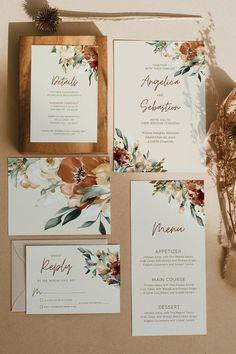 Fall Wedding Invitations, Wedding Stationary, Wedding Invitation Templates, Watercolor Wedding Invitations, Floral Invitation, Wedding Sets, Wedding Cards, Our Wedding, Dream Wedding