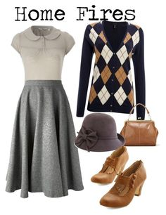// home fires inspired by onceuponanovel Not sure about the sweater and I would pick different shoes. Vintage Outfits, Vintage Inspired Outfits, Vintage Wardrobe, 1930s Fashion, Retro Fashion, Vintage Fashion, Womens Fashion, Edwardian Fashion, French Fashion