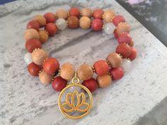 Natural Rose quartz bead gold Lotus yoga Bands set by Yashodara
