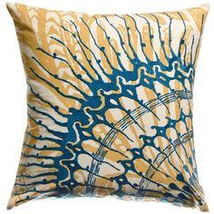 Koko Company Water Cotton Eurosham 18 by 18 inches Pillow, Blue, Mustard