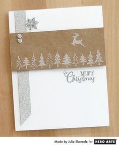 It's a Christmas reindeer leaping in to bring you some cheer!  These tiny stamps in silver inked on kraft paper add a homespun touch to your handmade Christmas card.  Silver glitter paper brings the bling!