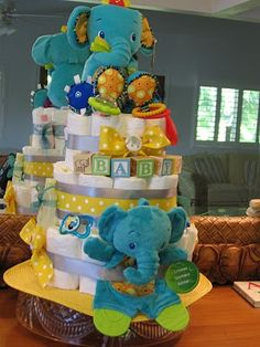 Art Elephant diaper cake diaper-cakes-by-the-life-of-the-party Cute Baby Shower Gifts, Diy Baby Gifts, Baby Shower Parties, Baby Shower Themes, Shower Ideas, Baby Showers, Baby Shower Diapers, Baby Shower Cakes, Baby Boy Shower