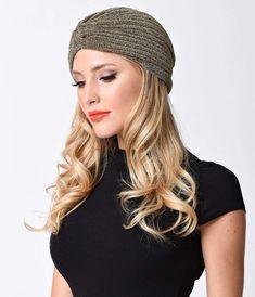 Vintage Style Gold Metallic Lurex Knotted Turban