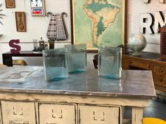 Three Vintage Battery Glass Holders  $89  Mid Century Dallas Booth 766  Lula B's 1010 N. Riverfront Blvd. Dallas, TX 75207