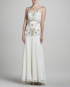 V-Neck Gown with Lace Skirt by Sue Wong at Neiman Marcus.