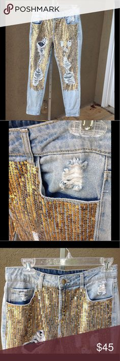 """SEQUINED DISTRESSED JEANS Super fun jeans! Get ready for endless compliments. Really cute with sandals and a plain tee or sweatshirt. High waisted style in a cropped length. Approx meas laid flat: W 15"""" across, H 20"""" across, front rise 10"""", back rise 14"""", inseam 27.5"""". 100% cotton, hand wash cool water. No stains inside or out. Litz Jeans Boyfriend"""