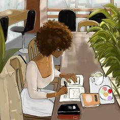 Some people don't understand that sitting in your own house , in your favorite place alone, working, eating and minding your business is… Black Love Art, Black Girl Art, Art Girl, African American Art, African Art, Illustrations, Illustration Art, Natural Hair Art, Black Art Pictures