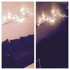 I decided to put a bouch up on a wall and put lights around it! The wall looks no longer empty!