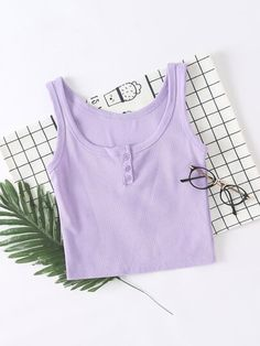 This buttoned rib knit crop tank is perfect for summer. Over 2000 reviewers gave THIS crop top 5/5 stars! Cheap Crop Tops, Cute Crop Tops, Purple Crop Top, Summer Tank Tops, Knitted Tank Top, Top P, Crop Tank, Rib Knit, Basic Tank Top