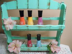 Vintage1960s Spice Rack/Nail Polish Storage/Cupcake Sprinkle Display Shelf Upcycled Shabby Chic