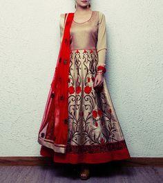 Golden and Maroon Silk Anarkali Suit Pakistani Dresses, Indian Dresses, Indian Suits, Lovely Dresses, Beautiful Outfits, Beautiful Things, Silk Anarkali Suits, Salwar Suits, Indian Couture