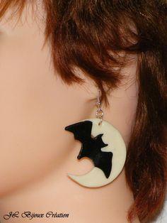 Boucle d'oreille Chauve-souris au clair de lune en fimo Argent 925 : Boucles d'oreille par jl-bijoux-creation