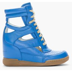 MARC BY MARC JACOBS Blue Cut-Out Leather Sneaker Wedges ($330) ❤ liked on Polyvore