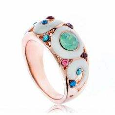 Rose Gold Plated Scatter Crystal Opal Enamel Band Ring, love it so much.