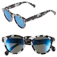 Illesteva 'Leonard' 47mm Sunglasses ($177) ❤ liked on Polyvore featuring accessories, eyewear, sunglasses, round sunglasses, rounded sunglasses, mirror sunglasses, retro round sunglasses and round keyhole sunglasses