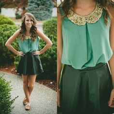 Sequin collar top - BUY @ Shop20sgirlstyle