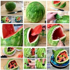 DIY watermelon 1st Birthday Foods, Luau Birthday, 13th Birthday Parties, Shark Watermelon, Shark Cake, Shark Party, Little Mermaid Parties, Baby Shark, Gera