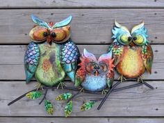 OWL FAMILY METAL WALL  PLAQUE Garden YARD decor FLOWERS 16.3 x 22.5  NEW COND.