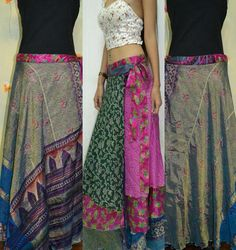 3 Layers Long Wrap Skirt India Sari Hippie Gypsy Boho by Beeskirt