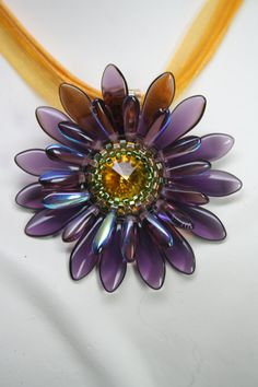 Purple SUNFLOWER DAISY Beaded Pendant Garden by createdbycarla
