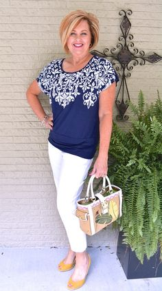 50 IS NOT OLD | A LITTLE BLING | Navy & White | Pop of Color | Fashion over 40 for the everyday woman