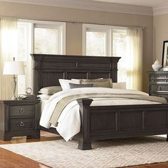 Standard Furniture Garrison 2 Piece Panel Bedroom Set in Grey & 25 Dark Wood Bedroom Furniture Decorating Ideas | Pinterest | Black ...
