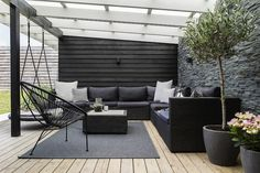 Danish House Tour: Minimalism in Greve — Beach Surf Decor by Nature Outdoor Lounge, Outdoor Spaces, Outdoor Living, Outdoor Decor, Danish House, Surf Decor, Patio Seating, Pergola Shade, Backyard Shade
