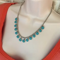 """Lucky Brand turquoise necklace jewelry silver tone Bring a boho vibe to your summer wardrobe with this semi-precious turquoise necklace by Lucky Brand. Silver-tone. 18"""" long. Lobster clasp. New with tags! Lucky Brand Jewelry Necklaces"""