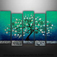 Abstract Painting Tree Painting Landscape by GabrielaStauffer