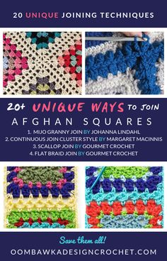 Crochet Squares Granny Design - Last week I received an email request to find a fellow Crocheter some Afghan Square Joining options. In an effort to help her, I have located 20 Unique Ways to Join Afghan Squares. Joining Crochet Squares, Granny Square Crochet Pattern, Crochet Blocks, Crochet Stitches Patterns, Crochet Granny, Free Crochet, Unique Crochet Stitches, Connecting Granny Squares, Afghan Patterns