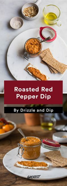 3. Roasted Red Pepper Pesto #healthy #dip #recipes http://greatist.com/eat/dip-recipes-way-better-than-the-classics