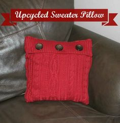 This cozy upcycled sweater pillow project is a great way to get a second life out of a favorite sweater.