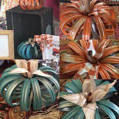Fun middle stem is a Cinnamon stick. Beautiful addition to any table top or centerpiece. Canning Lid Pumpkin, Mason Jar Pumpkin, Fall Mason Jars, Mason Jar Lids, Canning Lids, Pumpkin Centerpieces, Jar Centerpieces, Dollar Store Centerpiece, Jar Lid Crafts