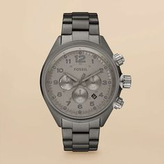 Flight Stainless Steel Watch in Smoke by Fossil.