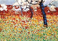 Egon Schiele Meadow with Flowers and Trees,1910, Pencil, watercolour and opaque colours with spray technique on paper, 290 x 400 mm, Private collection
