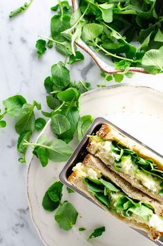 A simple egg and watercress sandwich (alias Egg & Cress) is a British classic that's simple but special. Watercress Recipes, Salad Sandwich, Wrap Recipes, Egg Recipes, Lunch Recipes, Diet Recipes, Healthy Sandwiches, Recipes