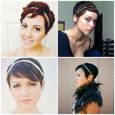 Pixie Hair Accessories with Sparkle My Hairstyle, Undercut Hairstyles, Party Hairstyles, Pixie Hairstyles, Pixie Haircut, Headband Hairstyles, Cool Hairstyles, Hairdos, Super Short Hair