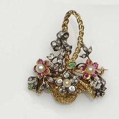 Gold, Diamond, Pearl, Ruby, Emerald & Platinum Flower Basket. A tisket a tasket a gold and jeweled basket....